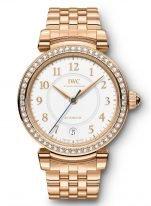 Женские наручные часы IWC Da Vinci IW458310 с датой в розовом золоте с бриллиантовым рантом, на белоснежном циферблате золотые арабские цифры и и стрелки, браслет из розового золота.