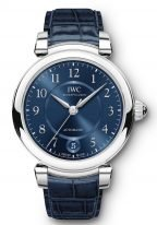 Женские классические часы IWC Da Vinci IW458312 с датой в стальном корпусе, на синем циферблате арабские цифры и и стрелки покрытые родием, синий ремешок кроко.
