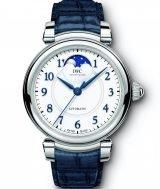 Женские наручные часы IWC Da Vinci IW459306 с фазами Луны в стальном корпусе, на белоснежном циферблате вороненые арабские цифры и и стрелки, синяя кожа кроко.