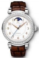 Женские наручные часы IWC Da Vinci IW459307 с фазами Луны в стальном корпусе с бриллиантовым рантом, на белоснежном циферблате золотые арабские цифры и и стрелки, темно-коричневый ремешок кроко.