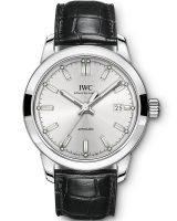 Мужские наручные часы IWC Pilot's Watch-IW357001 с датой в стальном корпусе, на посеребренном циферблате люминесцентные метки и стрелки, черный ремешок кроко.