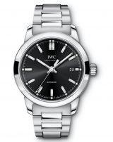Мужские наручные часы IWC Pilot's Watch-IW357002 с датой в стальном корпусе, на черном циферблате люминесцентные метки и стрелки, стальной браслет.