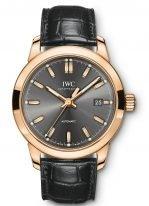 Мужские наручные часы IWC Pilot's Watch-IW357003 с датой в розовом золоте, на грифельно-сером циферблате люминесцентные метки и стрелки, черная кожа кроко.