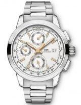 Мужские спортивные часы IWC Pilot's Watch-IW380801 хронограф в стальном корпусе, на посеребренном циферблате люминесцентные метки и стрелки, стальной браслет.