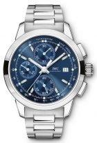 Мужские наручные часы IWC Pilot's Watch-IW380802 хронограф в стальном корпусе, на синем циферблате люминесцентные метки и стрелки, стальной браслет.