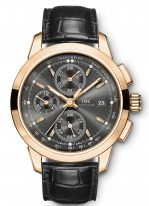 Мужские наручные часы IWC Pilot's Watch-IW380803 хронограф в розовом золоте, на грифельно-сером циферблате люминесцентные метки и стрелки, черный ремешок кроко.
