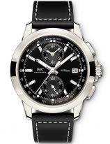 Мужские наручные часы IWC Pilot's Watch-IW380901 хронограф в титановом корпусе, на черном циферблате люминесцентные метки и стрелки, черный телячий ремешок.