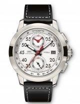 Мужские наручные часы IWC Pilot's Watch-IW380902 хронограф в титановом корпусе, на посеребренном циферблате люминесцентные метки и стрелки, черная телячья кожа.