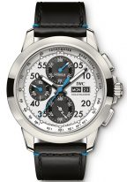 Мужские наручные часы IWC Pilot's Watch-IW381201 хронограф с датой и днем недели в титановом корпусе, на посеребренном циферблате люминесцентные метки и стрелки, черный телячий ремешок.