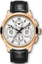 Мужские наручные часы IWC Pilot's Watch-IW381701 вечный календарь с хронографом в розовом золоте, на посеребренном циферблате люминесцентные метки и стрелки, черный кроко ремешок.