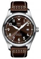 Мужские наручные часы IWC Pilot's Watch-IW327003 с датой в стальном корпусе, на коричневом циферблате люминесцентные арабские цифры, стрелки и метки, коричневый телячий ремешок.