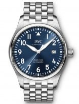 Мужские спортивные наручные часы IWC Pilot's Watch-IW327016 в стальном корпусе, на синем циферблате люминесцентные арабские цифры, стрелки и метки, стальной браслет.