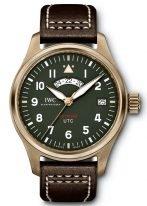 Мужские спортивные наручные часы IWC Pilot's Watch-IW327101 со временем второго часового пояса, в бронзовом корпусе, на зеленом циферблате люминесцентные арабские цифры, стрелки и метки, коричневый телячий ремешок.