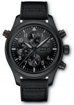 Мужские спортивные наручные часы IWC Pilot's Watch-IW371815 хронограф с датой и днем недели, в керамическо-титановом корпусе Ceratanium, на черном циферблате люминесцентные арабские цифры, стрелки и метки, черный каучуковый ремешок.