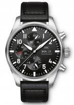 Мужские наручные часы IWC Pilot's Watch-IW377709 хронограф с датой и днем недели в стальном корпусе, на черном циферблате люминесцентные арабские цифры, стрелки и метки, черный телячий ремешок.