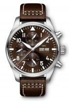 Мужские часы IWC Pilot's Watch IW377713 с хронографом с датой и днем недели в стальном корпусе, на коричневом циферблате люминесцентные арабские цифры, стрелки и метки, коричневый телячий ремешок.