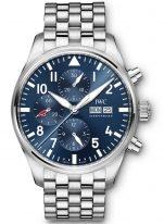 Мужские спортивные наручные часы IWC Pilot's Watch-IW377717 хронограф с датой и днем недели в стальном корпусе, на синем циферблате люминесцентные арабские цифры, стрелки и метки, стальной браслет.