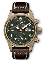 Мужские наручные часы IWC Pilot's Watch IW387902 хронограф с датой и днем недели в бронзовом корпусе, на зеленом циферблате люминесцентные арабские цифры, стрелки и метки, коричневый телячий ремешок.