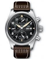 Мужские спортивные наручные часы IWC Pilot's Watch-IW387903 хронограф с датой и днем недели, в стальном корпусе, на черном циферблате люминесцентные арабские цифры, стрелки и метки, коричневая телячья кожа.
