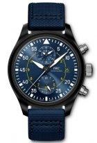Мужские наручные часы IWC Pilot's Watch IW389008 в корпусе из черной керамики, хронограф с датой, синий циферблат, синий ремешок