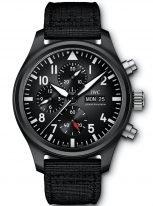Мужские наручные часы IWC Pilot's Watch IW389101 хронограф с датой и днем недели в керамическом корпусе, на черном циферблате люминесцентные арабские цифры, стрелки и метки, черный текстильный ремешок.