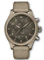Мужские спортивные наручные часы IWC Pilot's Watch-IW389103 хронограф с датой и днем недели в керамическом корпусе, на песочном циферблате люминесцентные арабские цифры, стрелки и метки, бежевый текстильный ремешок.