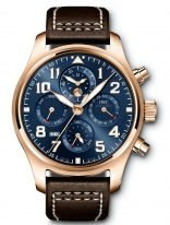 Мужские спортивные наручные часы IWC Pilot's Watch-IW392202 с вечным календарем и хронографом в розовом золоте, на синем циферблате люминесцентные арабские цифры, стрелки и метки, коричневый телячий ремешок.
