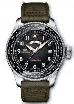 Мужские спортивные наручные часы IWC Pilot's Watch-IW395501мировое время в стальном корпусе, на черном циферблате люминесцентные арабские цифры, стрелки и метки, зеленый текстильный ремешок.