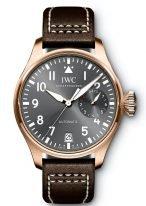 Мужские спортивные наручные часы IWC Pilot's Watch-IW500917 с 7дневным запасом хода, в розовом золоте, на грифельно-сером циферблате люминесцентные арабские цифры, стрелки и метки, коричневый телячий ремешок Santoni.