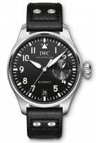 Мужские спортивные наручные часы IWC Pilot's Watch-IW501001 с 7дневным запасом хода, в стальном корпусе, на черном циферблате люминесцентные арабские цифры, стрелки и метки, кожаный ремешок.