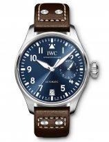 Мужские спортивные наручные часы IWC Pilot's Watch-IW501002 с запасом хода, в стальном корпусе, на синем циферблате люминесцентные арабские цифры, стрелки и метки, коричневый телячий ремешок Santoni.