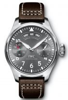 Мужские спортивные наручные часы IWC Pilot's Watch-IW502702 с годовым календарем и 7дневным запасом хода в стальном корпусе, на грифельно-сером циферблате люминесцентные арабские цифры, стрелки и метки, коричневый телячий ремешок.