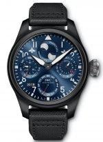 Мужские наручные часы IWC Pilot's Watch-IW503001 с вечным календарем и фазами Луны для Северного и Южного полушарий ,в керамическом корпусе, на синем циферблате люминесцентные арабские цифры, стрелки и метки, черный телячий ремешок.