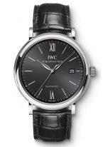 Мужские классические наручные часы IWC Portofino-IW356502 с датой в стальном корпусе, на черном циферблате метки покрытые родием и тонкие стрелки, черная кожа кроко.