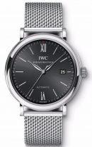 Мужские наручные часы IWC Portofino-IW356506 с датой в стальном корпусе, на черном циферблате метки покрытые родием и тонкие стрелки, стальной браслет.