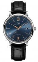 Мужские классические часы IWC Portofino IW356523 с датой в стальном корпусе, на синем циферблате золотые метки и стрелки, черный ремешок кроко.