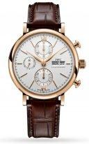 Мужские классические часы IWC Portofino IW391025 хронограф с датой и днем недели в розовом золоте, на серебристом циферблате золотые метки и стрелки, темно-коричневый ремешок кроко.