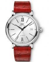 Женские наручные часы IWC Portofino-IW458109 с датой в стальном корпусе с бриллиантовым рантом, на посеребренном циферблате метки и стрелки покрытые родием, красный ремешок кроко.