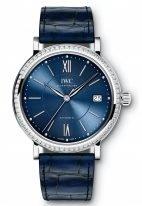 Женские наручные часы IWC Portofino-IW458111 с датой в стальном корпусе с бриллиантовым рантом, на синем циферблате метки и стрелки покрытые родием, синий ремешок кроко.