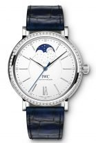 Женские классические часы IWC Portofino IW459008 с фазами Луны и датой в стальном корпусе с бриллиантовым рантом, на посеребренном циферблате метки и стрелки покрытые родием, синий ремешок кроко.