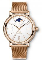 """Женские наручные часы IWC Portofino-IW459010 с фазами Луны и датой в розовом золоте с бриллиантовым рантом, на посеребренном циферблате золотые метки и стрелки, браслет """"миланского плетения"""" в розовом золоте."""