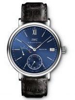 Мужские наручные часы IWC Portofino-IW510106 с запасом хода и датой в стальном корпусе, на синем циферблате метки и стрелки покрытые родием, черный ремешок Santoni.