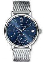 Мужские наручные часы IWC Portofino-IW510116 с запасом хода и датой в стальном корпусе, на синем циферблате метки и стрелки покрытые родием, стальной браслет миланского плетения.