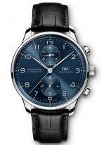 Мужские наручные часы IWC Portugieser IW371606 хронограф в стальном корпусе, на синем циферблате углубленные счетчики хронографа, арабские цифры и стрелки, черная кожа кроко.