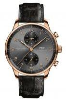 Мужские наручные часы IWC Portugieser IW371610 хронограф в розовом золоте, на грифельно-сером циферблате углубленные счетчики хронографа, арабские цифры и стрелки, черная кожа кроко.