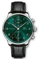 Мужские наручные часы IWC Portugieser IW371615 хронограф в стальном корпусе, на зеленом циферблате углубленные счетчики хронографа, арабские цифры и стрелки, черный ремешок кроко.