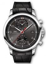 Мужские спортивные часы IWC Portugieser IW390503 хронограф с датой в стальном корпусе, на грифельно-сером циферблате счетчики хронографа, арабские цифры, люминесцентные метки и стрелки, черный каучуковый ремешок.