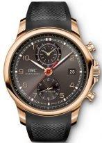 Мужские наручные часы IWC Portugieser IW390505 хронограф с датой в розовом золоте, на грифельно-сером циферблате счетчики хронографа, арабские цифры, люминесцентные метки и стрелки, черный каучук.