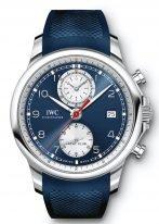 Мужские наручные часы IWC Portugieser IW390507 хронограф с датой в стальном корпусе, на синем циферблате счетчики хронографа, арабские цифры, люминесцентные метки и стрелки, синий каучуковый ремешок.