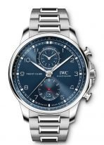 Мужские наручные часы IWC Portugieser IW390701 с хронографом в стальном корпусе, синий циферблат, стальной браслет.